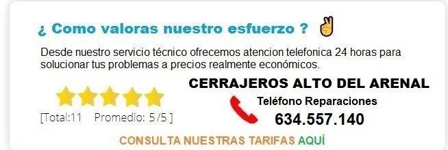 cerrajero ALTO DEL ARENAL precio
